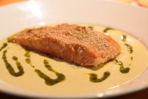 Sesame Glazed Salmon Fillet Lime, honey & ginger sauce
